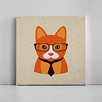 Детская картина на холсте Рыжая кошка хипстер 30х30 см