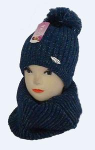 Шапка детская +шарф хомут м 7002, акрил, флис