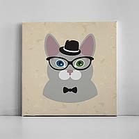 Детская картина на холсте Кот в шляпе 30х30 см
