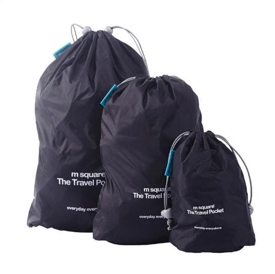 Набор водонепроницаемых мешочков для белья на завязочках черный