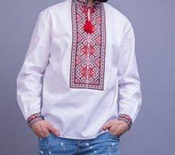 Традиционная мужская вышиванка с красными узорами БП