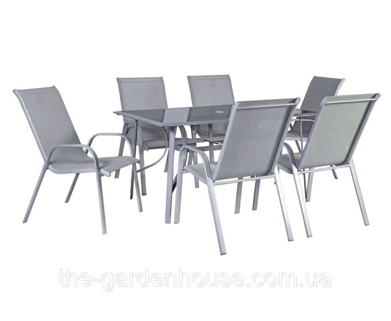 Столовый набор садовой мебели: стол Denver со стеклом и 6 стульев из текстилена серого цвета