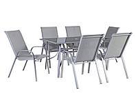 Столовый набор садовой мебели: стол Denver со стеклом и 6 стульев из текстилена серого цвета, фото 1