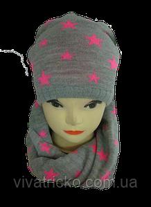 Шапка и шарф хомут м 7003, разные цвета
