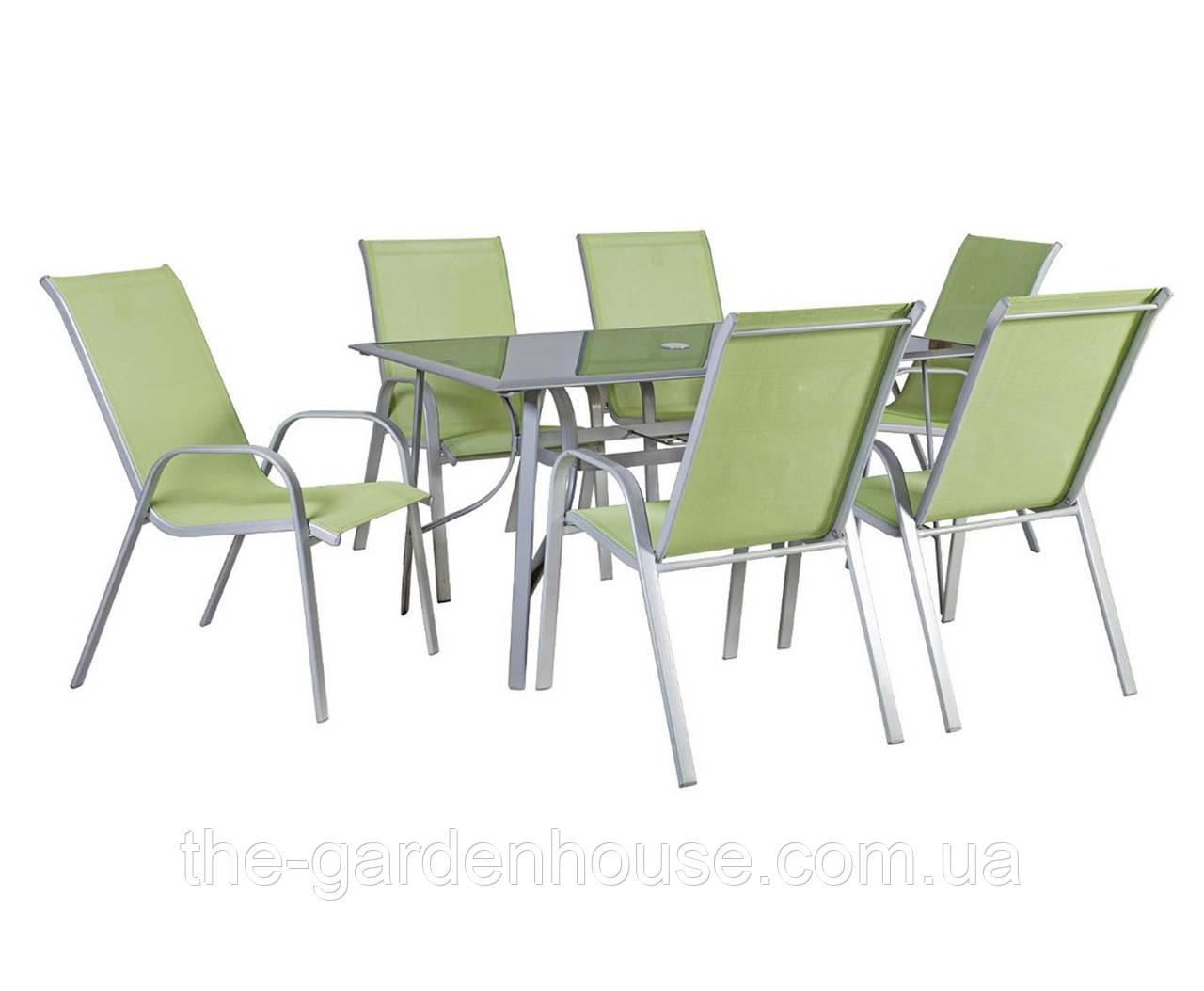 Столовый набор садовой мебели: стол Denver со стеклом и 6 стульев из текстилена зеленого цвета