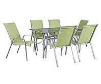 Столовый набор садовой мебели: стол Denver со стеклом и 6 стульев из текстилена зеленого цвета, фото 1