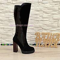 Сапоги женские демисезонные замшевые на высоком каблуке, декорированы лаковой вставкой. 37 размер