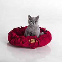 Cat Cozy Red - Уютный (мягкий круглый лежак с рюшами для кота)