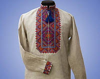 Красивая мужская вышиванка с оригинальными цветными узорами БП