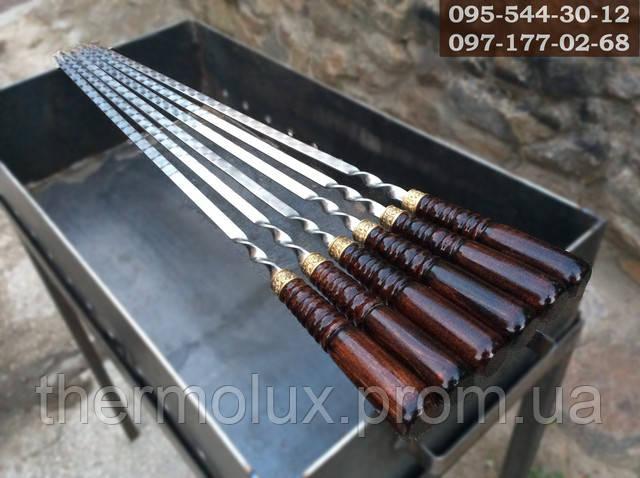 Шампур с деревянной ручкой, 3мм сталь