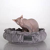 Cat Cozy Gray - Уютный (мягкий круглый лежак с рюшами для кота)