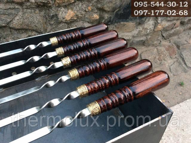 Лакированная деревянная ручка шампура, дуб