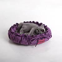 Cat Cozy Violet - Уютный (мягкий круглый лежак с рюшами для кота)