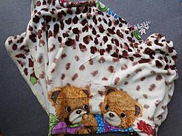 Плед из рваной махры ,одеяло в коляску 2а мишки