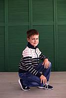 Кофта Many&Many на молнии для мальчика, синяя с бежевыми полосами.