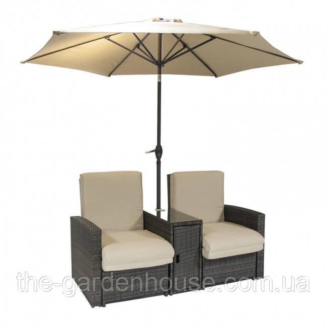 Двойной шезлонг из искусственного ротанга с подушками и зонтом