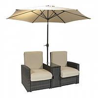 Двойной шезлонг из искусственного ротанга с подушками и зонтом, фото 1