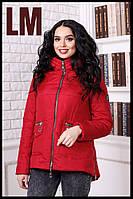 """Женская куртка """"Скарлетт3"""" 44-58 батал осенняя весенняя короткая асимметрия демисезонная на молнии с капюшоном"""