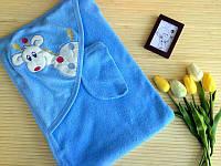 Полотенце с капюшоном  купания для детское голубой