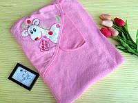 Полотенце детское для купания для новорожденных цвет розовый