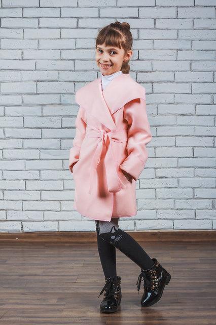 """Кашемировое пальто для девочки """"Красотуля"""" персик, фото 1"""