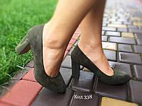 Туфли женские зеленые на каблуке. Польша