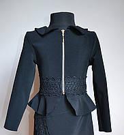 Детский школьный пиджак жакет для девочки черный