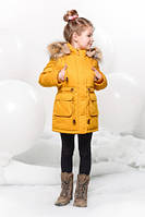 Куртка-парка зимняя детская  для девочки. Пуховик с мехом енота