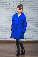 """Кашемировое пальто для девочки """"Красотуля"""" электрик, фото 1"""
