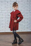 """Кашемировое пальто для девочки """"Красотуля"""" бордо"""