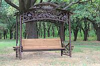 """Садовые качели """"Роза"""" (цвет шоколад), материал основы сидения - дуб"""