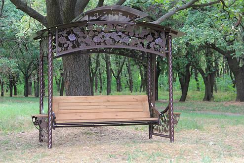 """Садовые качели """"Роза"""" (цвет шоколад), материал основы сидения - дуб, фото 2"""