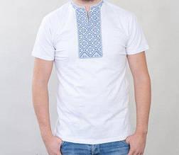 Вышитая мужская футболка с нежно-голубой вышивкой БП