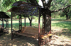 """Садовые качели """"Роза"""" (цвет шоколад), материал основы сидения - дуб, фото 3"""