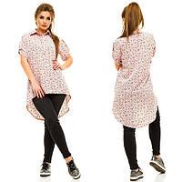Женская блузка с асимметричным низом, материал - софт, цвет - пудра