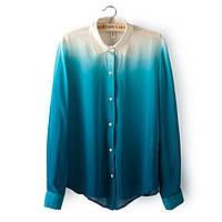 Рубашка женская шифоновая стильная ГРАДИЕНТ ,модная женская одежда