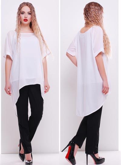 86a17fb2c55 Белый свободный блузон с майкой - СТИЛЬНАЯ ДЕВУШКА интернет магазин модной  женской одежды в Киеве