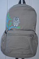 """Стильный школьный, подростковый, студенческий рюкзак с принтом """"сова"""", серый"""