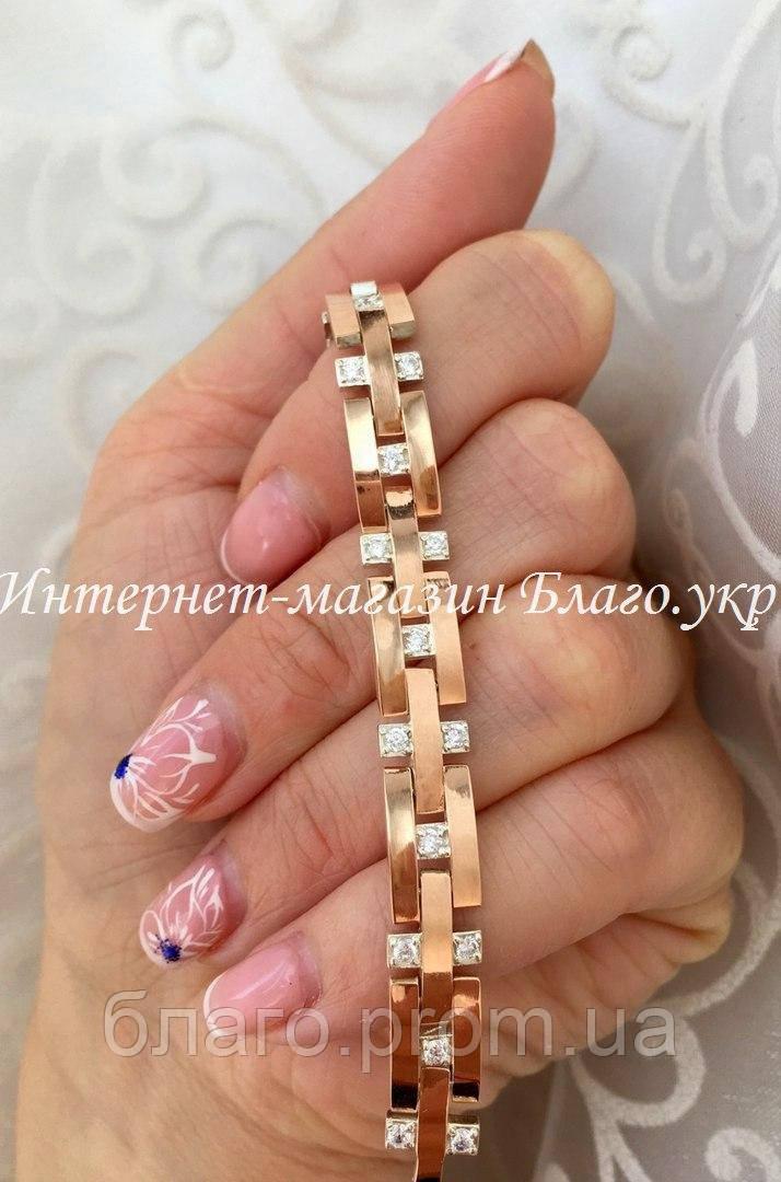 """Браслет """"Лав"""" серебряный с золотыми накладками женский, длина 17,5 - 18 см (8 звеньев)"""