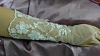 Свадебные перчатки с гипюром белые