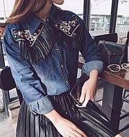 Рубашка женская джинсовая с вышивкой и бахромой из эко кожи, фото 1