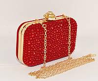 Вечерний велюровый мини-клатч в камнях Rose Heart 0951-2 красный