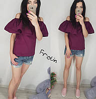 Блузка с рюшей фиолетовый, С (42)