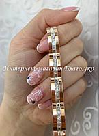 """Браслет """"Роуз"""" серебряный с золотыми накладками женский, фото 1"""