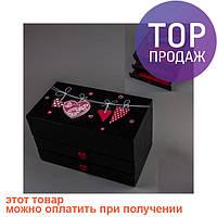 Деревянная шкатулка Ночные Сердца 20х11х12см / шкатулка для украшений