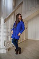 Стильное пальто Элен синий электрик для девочки 152.158
