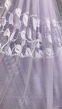 Тюль жаккард белая листья ELICA, фото 2