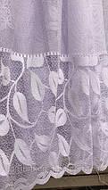 Тюль жаккард белая листья ELICA, фото 3