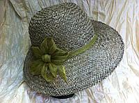 Шляпа с большими полями материал трава