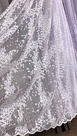 Тюль жаккард белая снег JANSEN